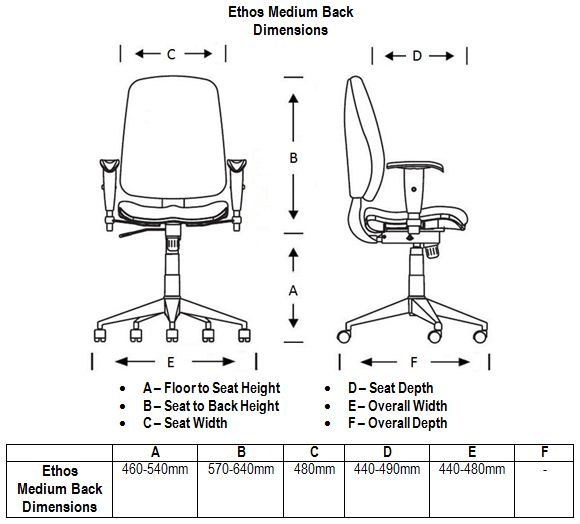 Ethos Medium Back Dimensions